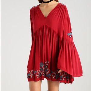 Free people te amo red Embroidered mini dress